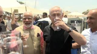 PM Netanyahu and Indian PM Modi Attend Demo of Mobile Desalination Unit