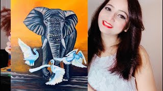 Beginner Acrylic Elephant Painting Step By Step Tutorial | A Complete Begi