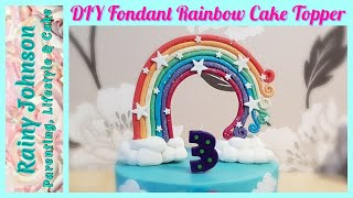 How To Make A Standing Rainbow Cake Topper / DIY Fondant Topper Tutorial