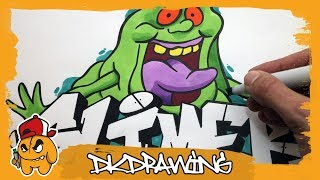 How to draw graffiti letters Slimer  Slimer Cartoon Character (The Ghostbusters)