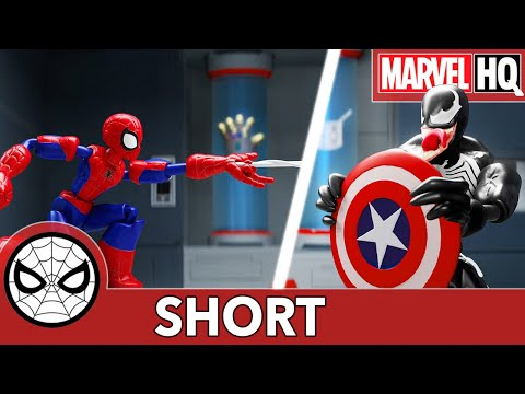 "Spidey & Cap Nab Shield-Stealing Venom! | Hasbro Marvel Bend and Flex ""Shield of Screams"" | SHORT"