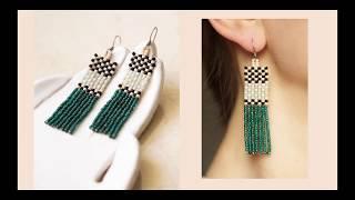Seed Bead Geometric Earrings Tutorial For Beginners.