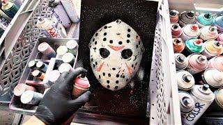 Jason Voorhees Mask SPRAY PAINT ART Glow in the dark