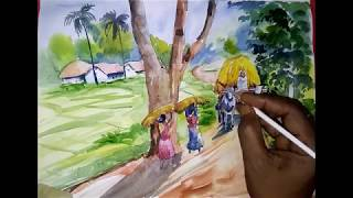 Village Scenery Drawing Tutorial With Human Figures | In Water Color