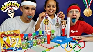 FANTASTIC GYMNASTICS CHALLENGE! Extreme Sour Warheads Candy - Toys AndMe Family Funny Video