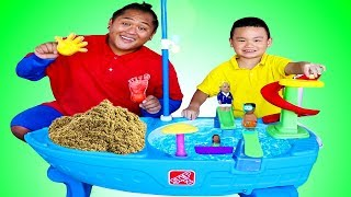 Lyndon Pretend Play with Water Table and Sand Toys for Kids