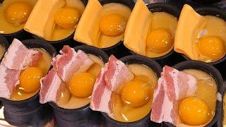 egg bread with bacon - korean street food