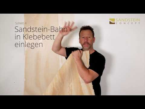 Verlegung Flexibler Sandstein Bahnenware als Wandbelag Sandsteintapete