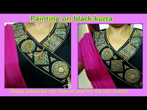 Painting on black kurta