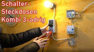 Schalter- Steckdosenkombination 3-adrig (Aufputz)