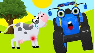 Tractors for children with farm animals - Blue Tractor Song Cartoon for Toddlers 8