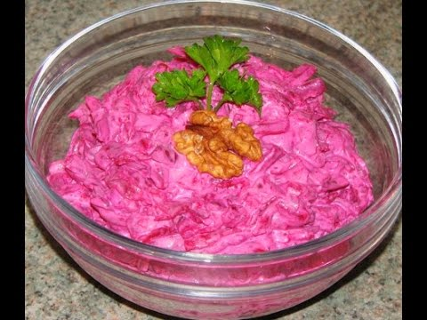 Салат из свеклы! Салат из свеклы с чесноком и грецким орехом. Свекольный салат.