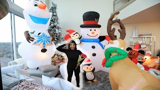 Surprising My Fiancé With 50 Christmas Inflatables In The House | VLOGMAS DAY 16