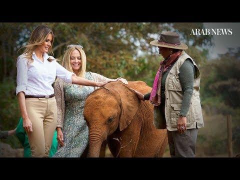 9b07671efbe80 Melania Trump visits baby elephants in Kenya