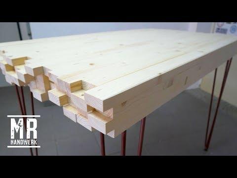 (1/2) Designer Tisch aus Dachlatten selber bauen! Wie geht das ???