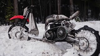 Snowmobile Engine Swapped Scooter Rips in the Snow