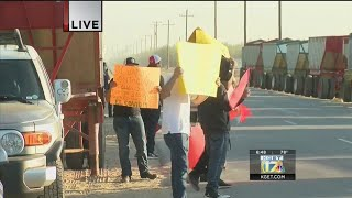 Workers picketing at Primex Farms
