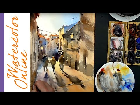 Thursday Speed Up Demos: Three Friends (Watercolor Dynamic Figure/Cityscape)