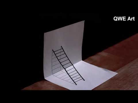 Optical illusion drawings : 3D Ladder drawing | Ladder - 3D Drawing | 3D Ladder illusion drawings
