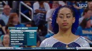 Смотреть онлайн Необычное выступление гимнастки на соревнованиях