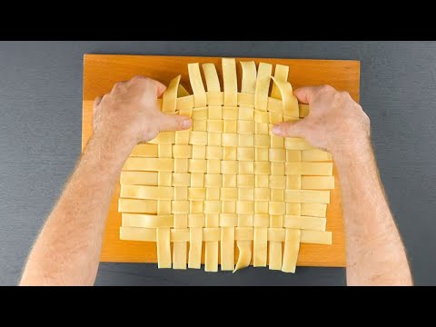 Weave The Pasta For A Lattice Top & Cut The Edge Off With Scissors