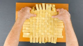 Braid The Pasta For A Lattice Top & Cut The Edge Off With Scissors