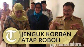 Bawakan Bingkisan Buah, Gubernur Jawa Timur Jenguk Korban Atap Sekolah Roboh