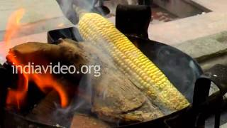 Sweet Corn roasting in Rishikesh