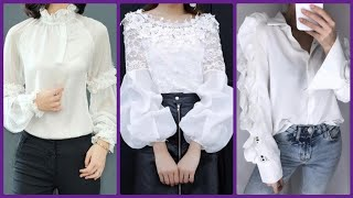 White Blouse Lace & Chiffon Blouses Collection