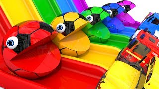 Learn Colors with PACMAN Slide and Excavator SoccerBall Street Vehicle for Kid Children