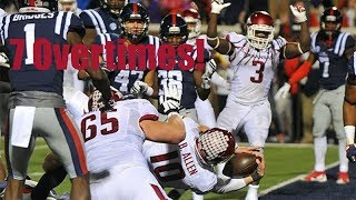 Longest College Football Games (5+ Overtimes)