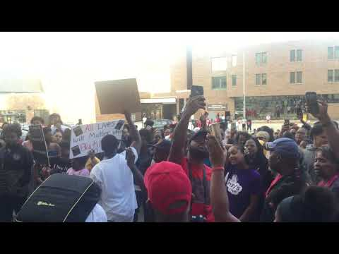 Demonstrators call for 'Justice' and remember Ty' Rese West's name outside of courthouse