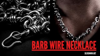 Mens Chunky Silver Barb Wire Necklace   BY Silverwow