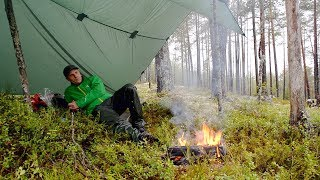 Rainy day under the Tarp, Coffee and Camp Fire