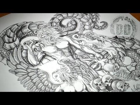 Warrior, Angel & Dragon Tattoo Design – Speed Drawing Video