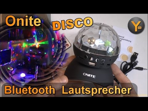 Onite Bluetooth Lautsprecher mit RGB Disco LED Kugel Lichteffekt / Discokugel