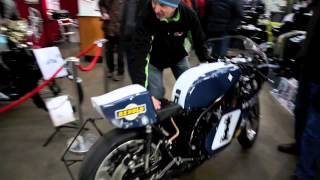 classicbikeshows: Manoeuvring through the hall at Newark