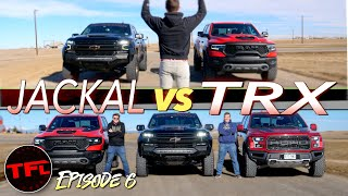 Can the 6.2-liter Supercharged Chevy Jackal Finally CRUSH The Ram TRX In A Drag Race? by The Fast Lane Truck