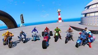 SpiderMan and motorcycles Сhallenge Superheroes GTAV !Человек-паук и мотоциклы крутое испытание !