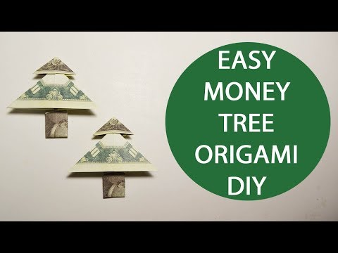 Easy Money Tree Origami 1 Dollar Tutorial DIY Folded No Glue