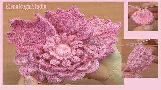 How To Crochet 3D Flower In Freeform Technique Tutorial 7 フリーフォームのかぎ針編み方法