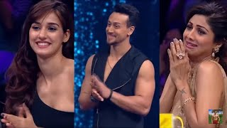 Tiger Shroff performing stunts at SUPER DANCER with Ritik and Disha Patani