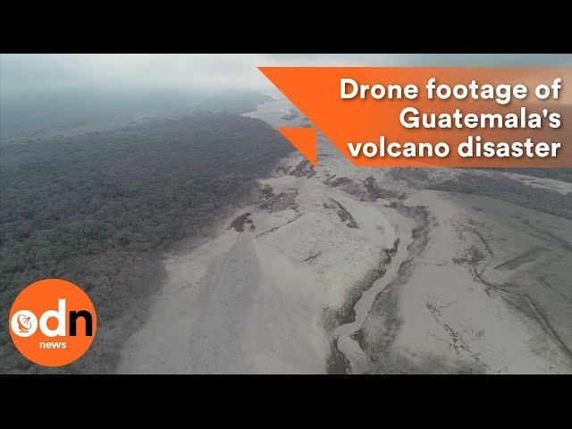 تصوير جوي لمنازل طُمرت تحت الرماد البركاني في غواتيمالا