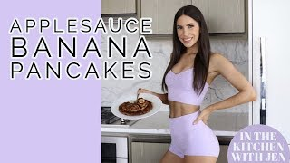 HEALTHY APPLE SAUCE BANANA PANCAKES | EASY BREAKFAST RECIPE | Jen Selter