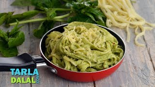 Veg Fettuccine Pasta in Pesto and Coriander Sauce by Tarla Dalal