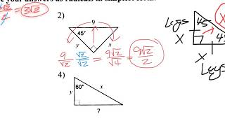 8-3 Special Right Triangle Notes Video