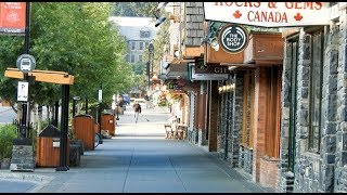 Early Summer Morning Walk in Banff town Alberta Canada