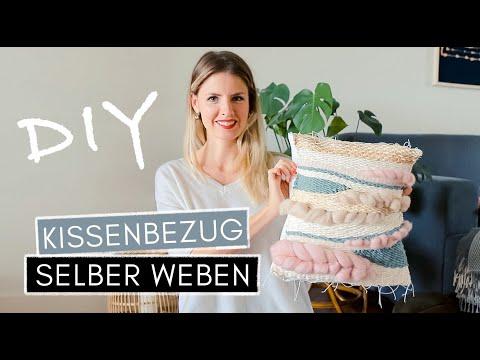 WEBEN: Kissenbezug selber weben  & Webrahmen-Hack (aus Leinwand selber bauen)