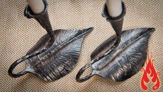 Blacksmithing - Forging Leaf Candlesticks