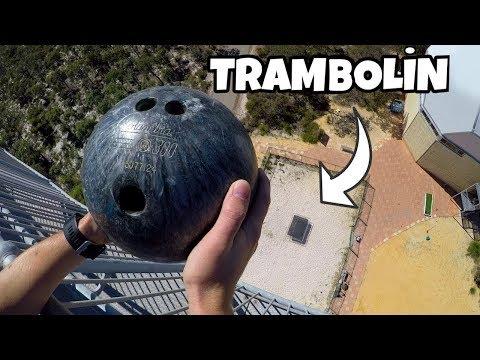 45 Metre'den Aşağı Trambolin'e Bowling Topu Atılırsa Ne Olur ?